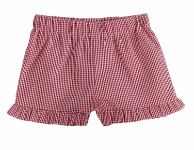 Color Works by Funtasia Girls Ruffle Shorts - Seersucker - Red