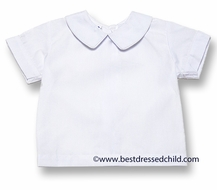 Cukees Boys White Dress Shirt with Piped Collar - Short Sleeves
