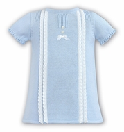 Dani by Sarah Louise Baby Girls Sweater Dress with Crochet Details - Blue