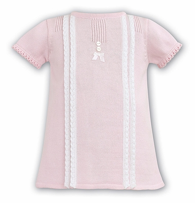 Dani by Sarah Louise Baby Girls Sweater Dress with Crochet Details - Pink
