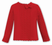 Dani by Sarah Louise Girls Cable Knit Sweater with Bow - Red