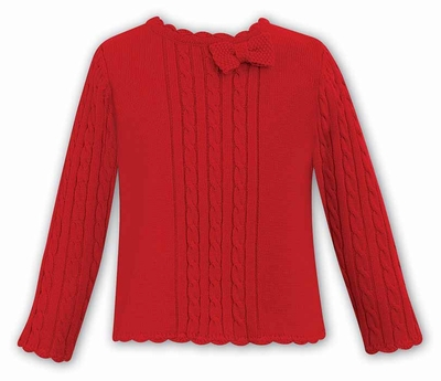 3588db7b460 Dani by Sarah Louise Girls Cable Knit Sweater with Bow - Red