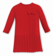 Dani by Sarah Louise Infant Girls Cable Knit Sweater Dress - Red