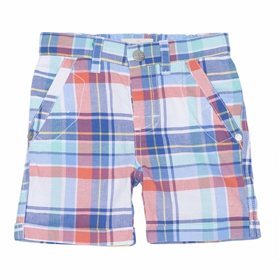 Deux Par Deux Boys Blue / Coral Plaid Bermuda Shorts