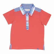 Deux Par Deux Boys Coral Polo Shirt with Plaid Collar and Trim