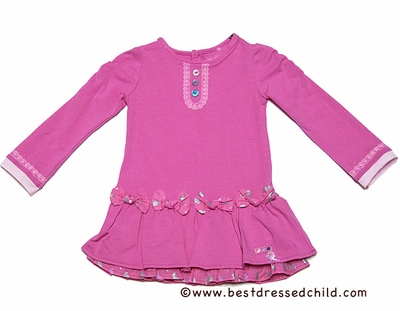 Deux Par Deux Girls Fashionista en Herbe Pink Jersey Dress