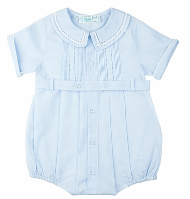 Feltman Brothers 23908 Infant Boys Light Blue Belted Bubble with Fancy Collar
