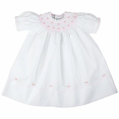 Feltman Brothers Baby Girls Sweet Midgie Bishop - White Dress Smocked in Pink