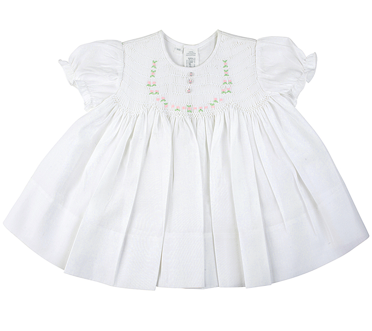 Feltman Bros. Teenie Weenie White Smocked Dresses for Newborn Girls