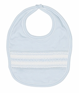 Feltman Brothers Baby Boys Blue Pima Cotton Diamond Smocked Bib