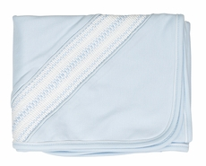 Feltman Brothers Baby Boys Blue Pima Cotton Diamond Smocked Blanket