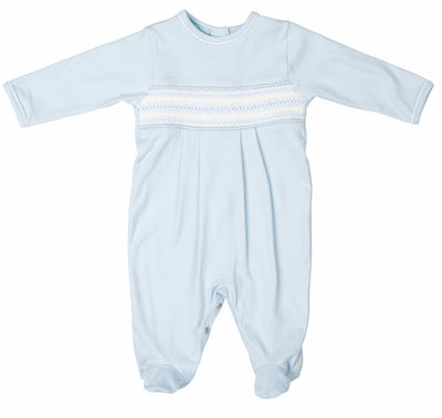 Feltman Brothers Baby Boys Blue Pima Cotton Diamond Smocked Footie Romper