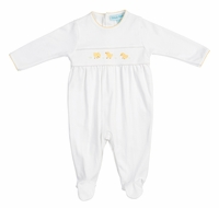 Feltman Brothers Baby Boys / Girls Unisex White / Yellow Chicks Footie Romper