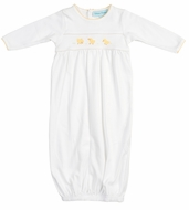 Feltman Brothers Baby Boys / Girls Unisex White / Yellow Chicks Gown