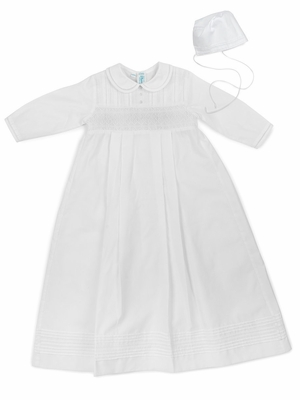 Feltman Brothers Baby Boys Smocked White Christening Gown with Hat - Long Sleeves - Boy