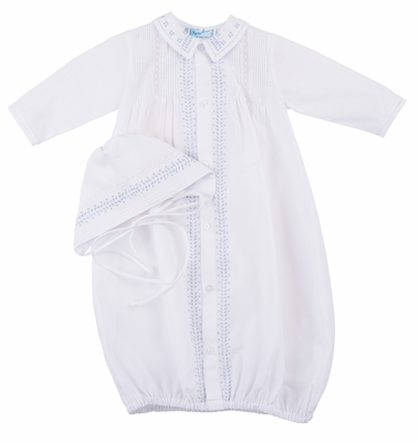 Feltman Brothers Baby Boys White / Blue Leaf Embroidery Take Me Home Gown with Hat