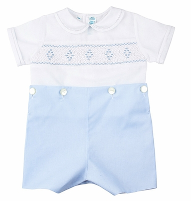 Feltman Brothers Baby / Toddler Boys White / Light Blue Smocked Button On Bobbie Suit