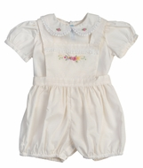 Feltman Brothers Baby Girls Embroidered Overall Set - Maize Yellow