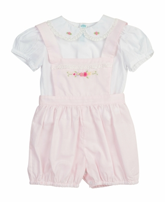 Feltman Brothers Baby Girls Embroidered Overall Set - Pink