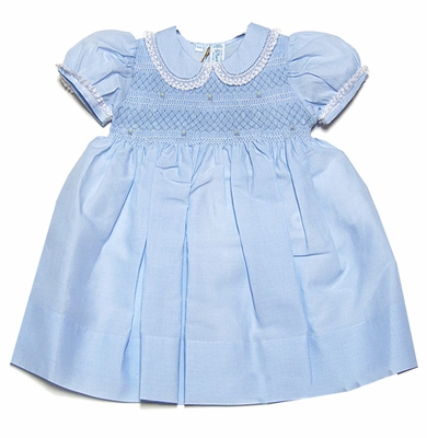 Feltman Brothers Baby Girls Midgie Smocked Dress with Collar - Light Blue