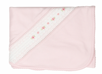 Feltman Brothers Baby Girls Pink Pima Cotton Flower Smocked Blanket