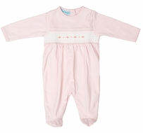 Feltman Brothers Baby Girls Pink Pima Cotton Flower Smocked Footie Romper