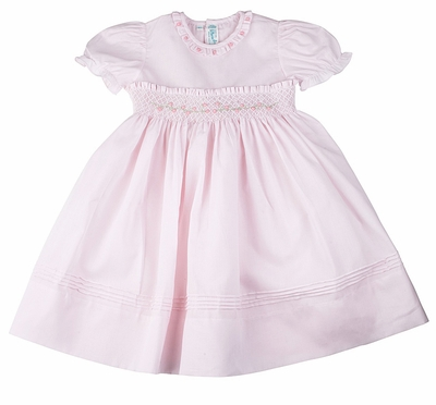 Feltman Brothers Baby Girls Smocked Dress with Panty - Pink