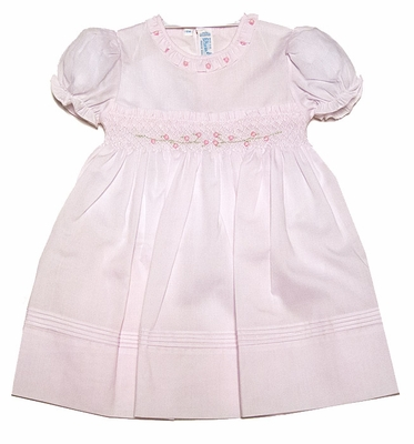 Feltman Brothers Baby Girls Smocked Rose Garden Dress with Puff Sleeves - Pink