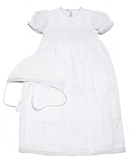 Feltman Brothers Baby Girls Smocked White Christening Gown with ...