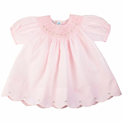 Feltman Brothers Baby Girls Sweet Pink Smocked Dress with Scallop Hem and Bloomers
