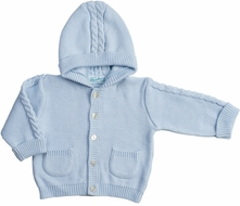 Feltman Brothers Baby / Toddler Boys Hooded Cable Cardigan Sweater - Blue