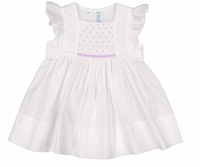 Feltman Brothers Baby / Toddler Girls Dress with Flutter Sleeves - Smocked in Lavender