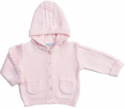 Feltman Brothers Baby / Toddler Girls Hooded Cable Cardigan Sweater - Pink