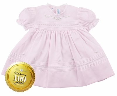 Feltman Brothers Baby / Toddler Girls Pink Floral Bullions & Lace Dress - 100th Anniversary Edition!