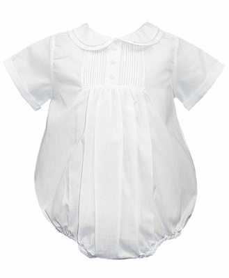 Feltman Brothers Infant Baby Boys Tucked Teenie Weenie Creeper Bubble - White