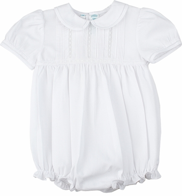 Feltman Brothers Infant Baby Girls Ruffled Bubble with Tucks - White