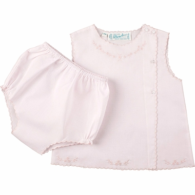 Feltman Brothers Infant Baby Girls Scallop Diaper Set with Floral Embroidery - Pink
