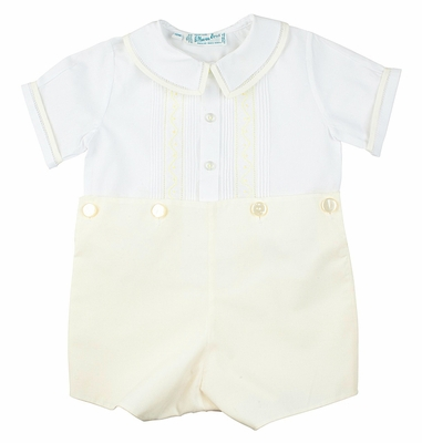 Feltman Brothers Infant Boys Yellow / White Dressy Button On Suit
