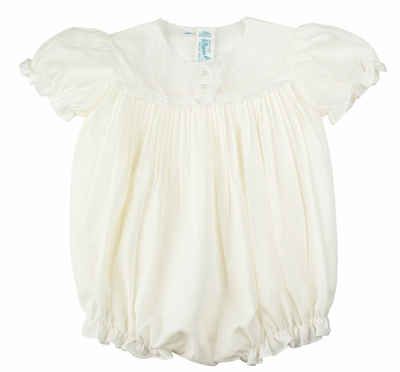 Feltman Brothers Infant Girls Maize Yellow Embroidery Bubble with Lace Trim