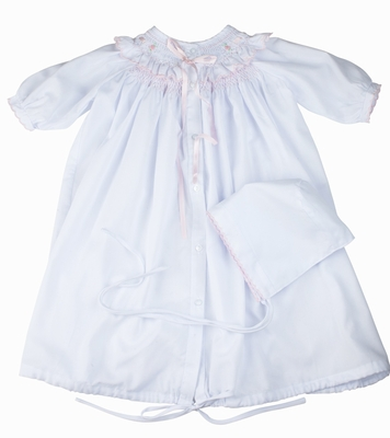 Feltman Brothers Infant Girls Smocked Take Me Home Gown with Hat - White with Pink Ribbons