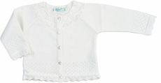 Feltman Brothers Infant / Toddler Girls Pointelle Cardigan Sweater - White
