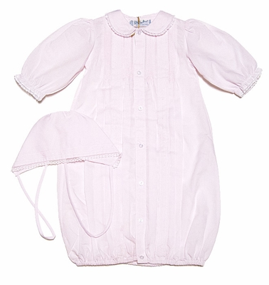 Feltman Brothers Newborn Baby Girls Pink Take Me Home Gown - Lace Trim & Bonnet