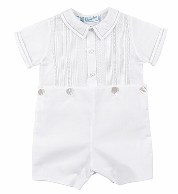 bba8e0ff1 Feltman Brothers Toddler Boys White Lace & Pintucks Button On Suit