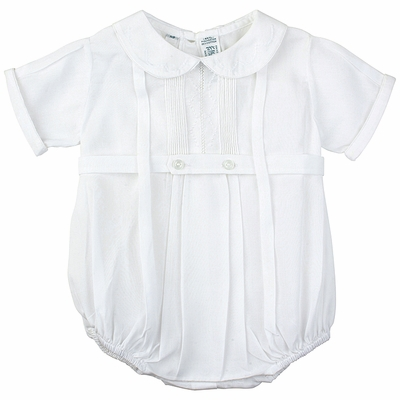 Feltman Brothers Baby Boys White Belted Creeper Bubble