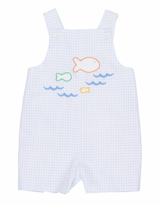 Florence Eiseman Baby Boys Blue Check Shortall with Fish