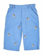 Florence Eiseman Baby Boys Blue Corduroy Faux Fly Pants with Embroidered Giraffes