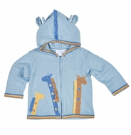 Florence Eiseman Baby Boys Blue Intarsia Sweater with Giraffes and Hood