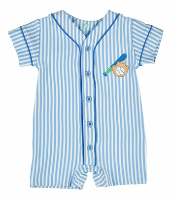 Florence Eiseman Baby Boys Blue Knit Baseball Jersey Romper with Applique