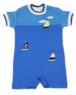 Florence Eiseman Baby Boys Blue Knit Romper with Sailboats
