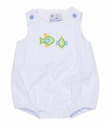 Florence Eiseman Baby Boys Blue Seersucker Bubble with Fish